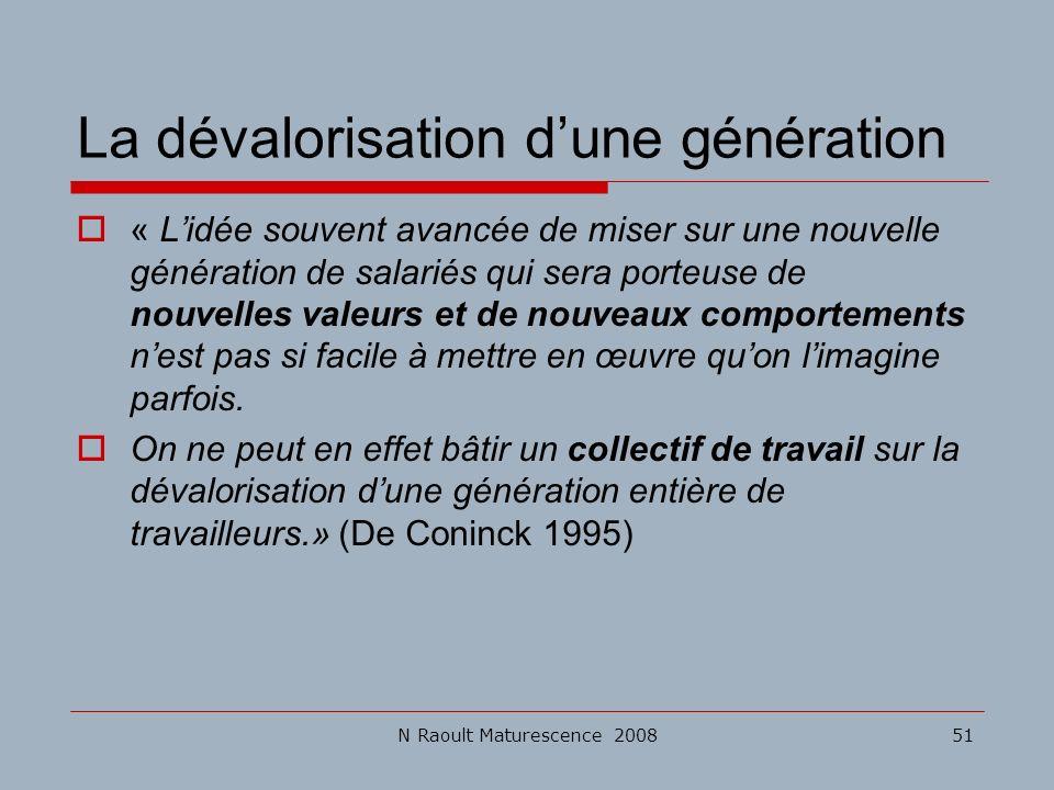 N Raoult Maturescence 200851 La dévalorisation dune génération « Lidée souvent avancée de miser sur une nouvelle génération de salariés qui sera porte