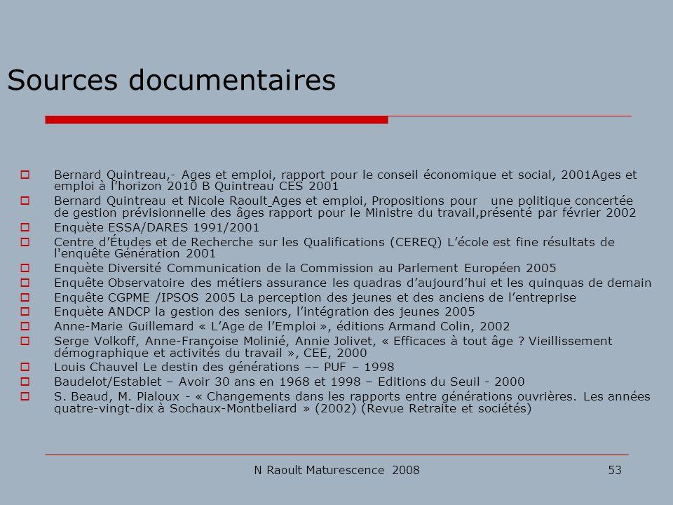 N Raoult Maturescence 200853 Sources documentaires Bernard Quintreau,- Ages et emploi, rapport pour le conseil économique et social, 2001Ages et emplo