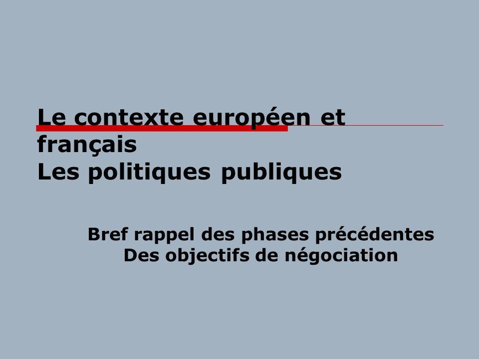 Le contexte européen et français Les politiques publiques Bref rappel des phases précédentes Des objectifs de négociation
