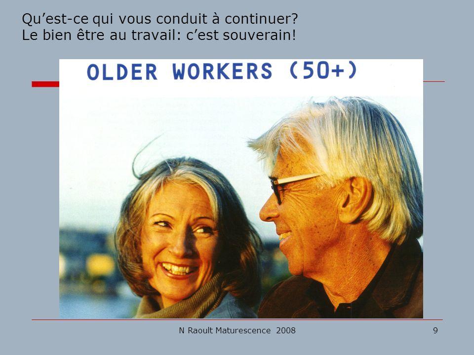 N Raoult Maturescence 20089 Quest-ce qui vous conduit à continuer? Le bien être au travail: cest souverain!