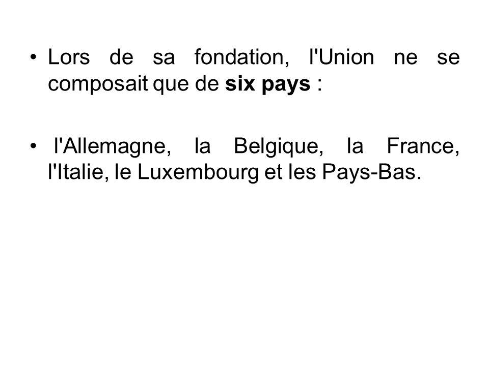 Lors de sa fondation, l'Union ne se composait que de six pays : l'Allemagne, la Belgique, la France, l'Italie, le Luxembourg et les Pays-Bas.