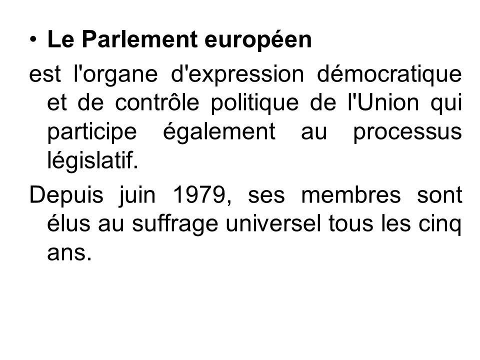 Le Parlement européen est l'organe d'expression démocratique et de contrôle politique de l'Union qui participe également au processus législatif. Depu