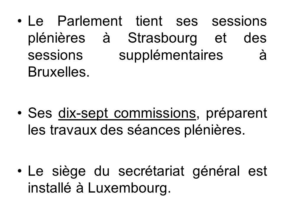 Le Parlement tient ses sessions plénières à Strasbourg et des sessions supplémentaires à Bruxelles. Ses dix-sept commissions, préparent les travaux de