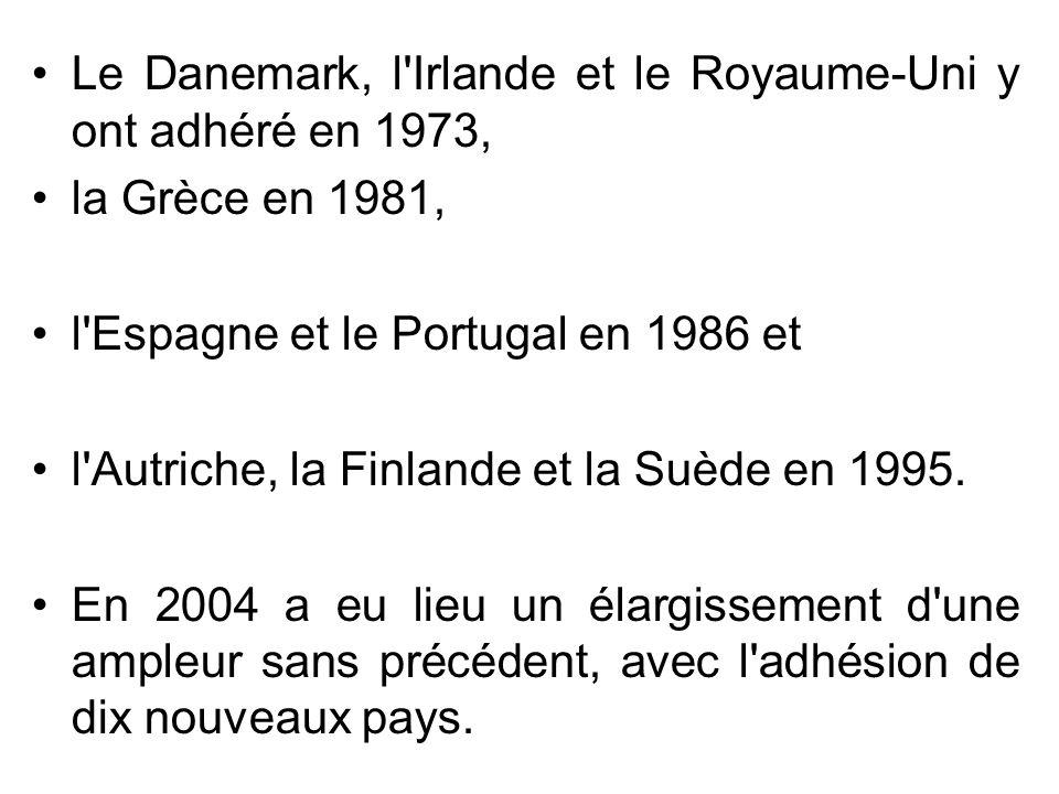 Le Danemark, l'Irlande et le Royaume-Uni y ont adhéré en 1973, la Grèce en 1981, l'Espagne et le Portugal en 1986 et l'Autriche, la Finlande et la Suè