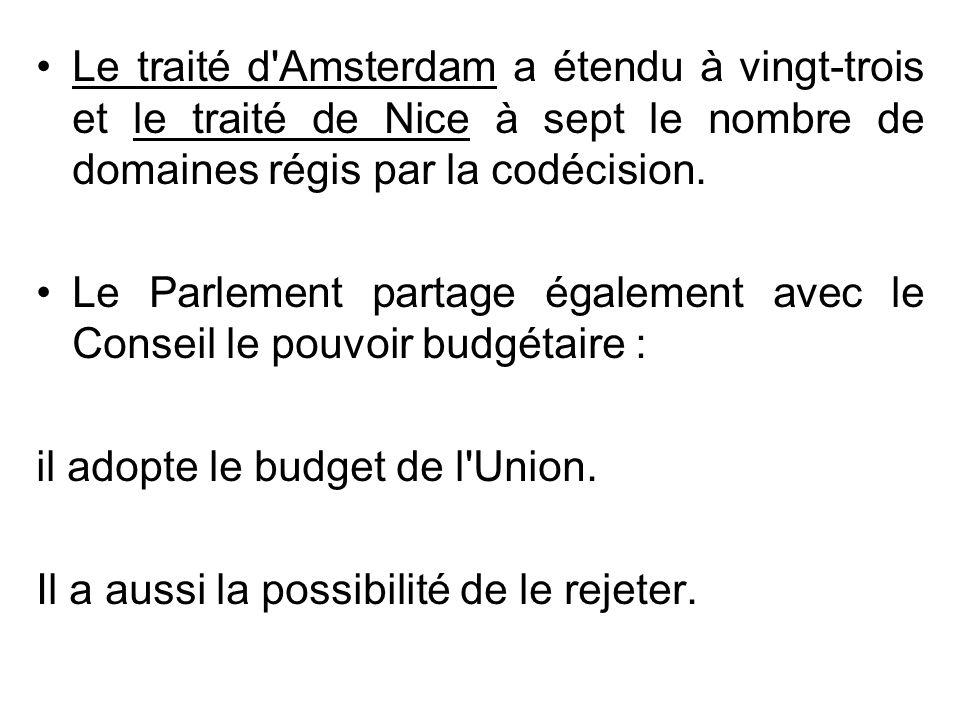 Le traité d'Amsterdam a étendu à vingt-trois et le traité de Nice à sept le nombre de domaines régis par la codécision. Le Parlement partage également