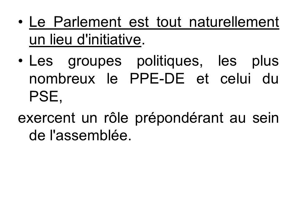 Le Parlement est tout naturellement un lieu d'initiative. Les groupes politiques, les plus nombreux le PPE-DE et celui du PSE, exercent un rôle prépon