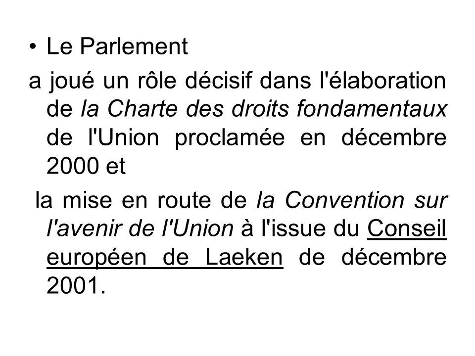 Le Parlement a joué un rôle décisif dans l'élaboration de la Charte des droits fondamentaux de l'Union proclamée en décembre 2000 et la mise en route