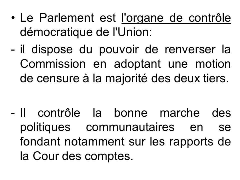 Le Parlement est l'organe de contrôle démocratique de l'Union: -il dispose du pouvoir de renverser la Commission en adoptant une motion de censure à l