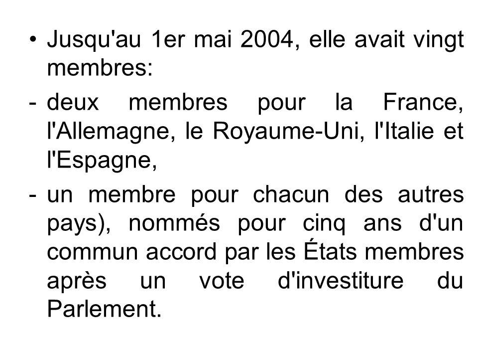 Jusqu'au 1er mai 2004, elle avait vingt membres: -deux membres pour la France, l'Allemagne, le Royaume-Uni, l'Italie et l'Espagne, -un membre pour cha