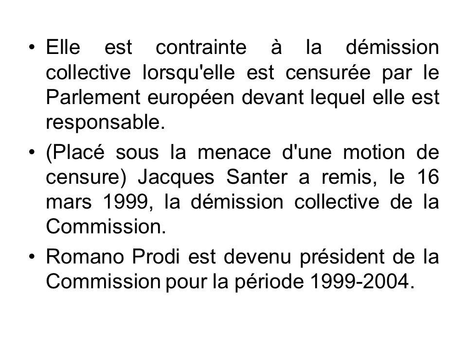 Elle est contrainte à la démission collective lorsqu'elle est censurée par le Parlement européen devant lequel elle est responsable. (Placé sous la me