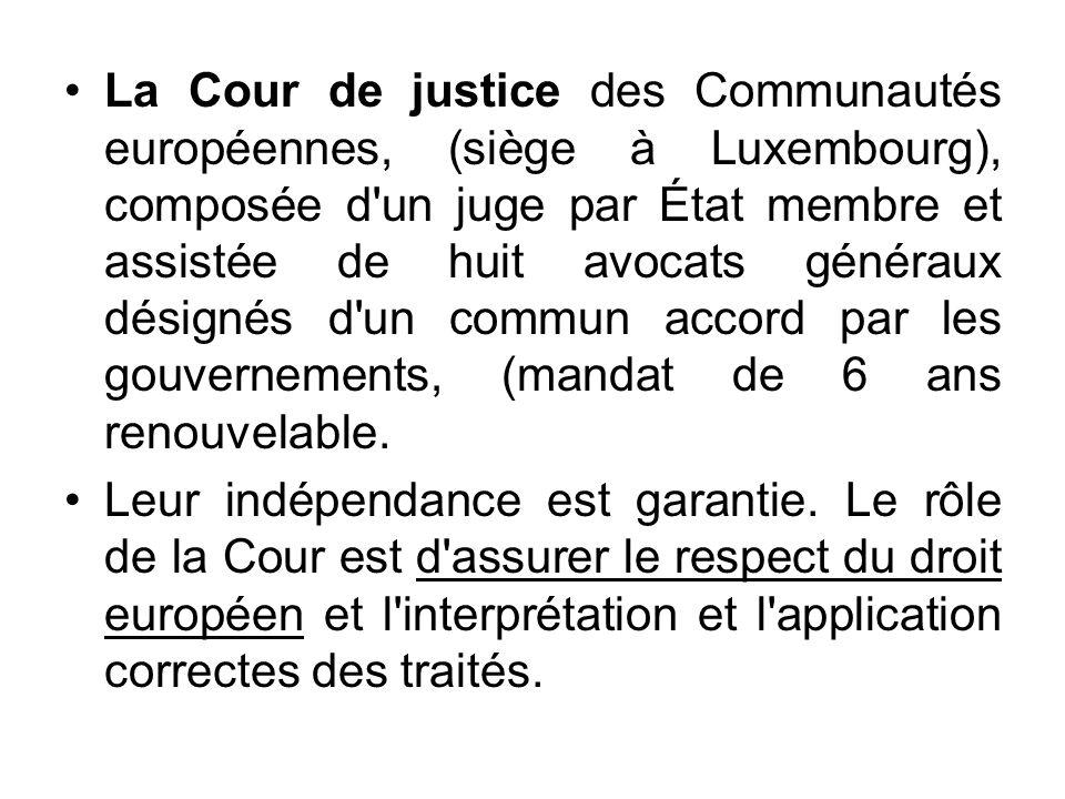 La Cour de justice des Communautés européennes, (siège à Luxembourg), composée d'un juge par État membre et assistée de huit avocats généraux désignés