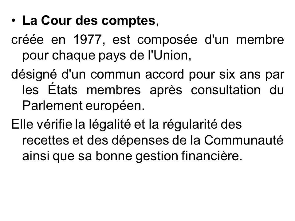 La Cour des comptes, créée en 1977, est composée d'un membre pour chaque pays de l'Union, désigné d'un commun accord pour six ans par les États membre
