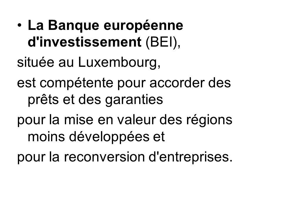 La Banque européenne d'investissement (BEI), située au Luxembourg, est compétente pour accorder des prêts et des garanties pour la mise en valeur des
