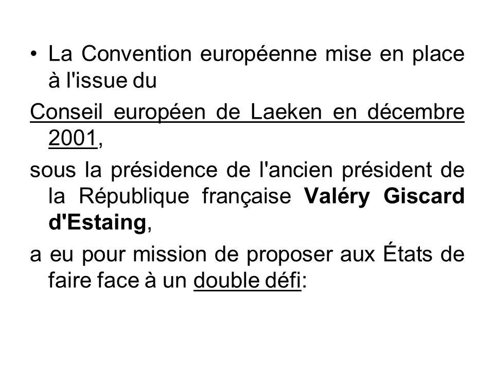 La Convention européenne mise en place à l'issue du Conseil européen de Laeken en décembre 2001, sous la présidence de l'ancien président de la Républ
