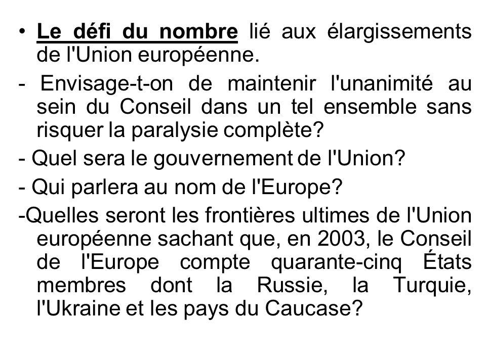 Le défi du nombre lié aux élargissements de l'Union européenne. - Envisage-t-on de maintenir l'unanimité au sein du Conseil dans un tel ensemble sans