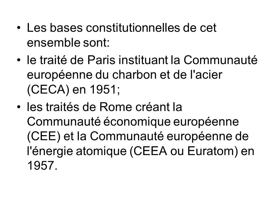 Les bases constitutionnelles de cet ensemble sont: le traité de Paris instituant la Communauté européenne du charbon et de l'acier (CECA) en 1951; les
