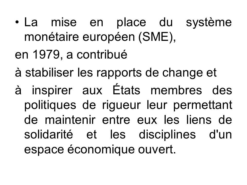 La mise en place du système monétaire européen (SME), en 1979, a contribué à stabiliser les rapports de change et à inspirer aux États membres des pol