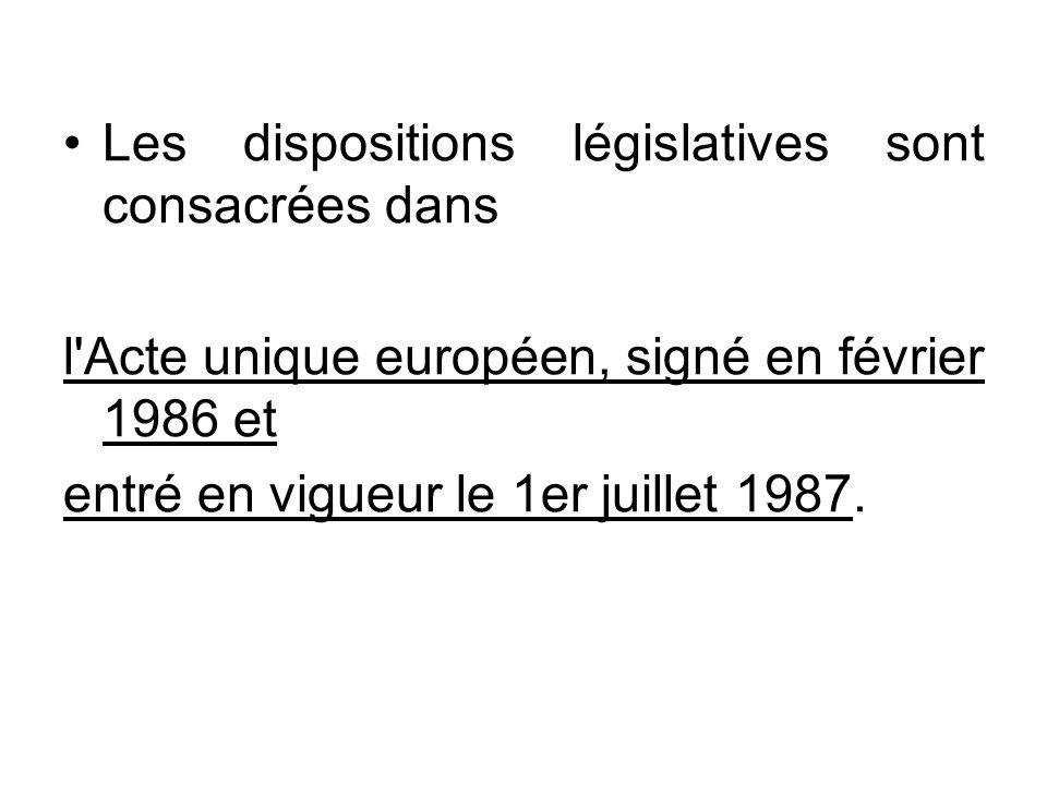 Les dispositions législatives sont consacrées dans l'Acte unique européen, signé en février 1986 et entré en vigueur le 1er juillet 1987.