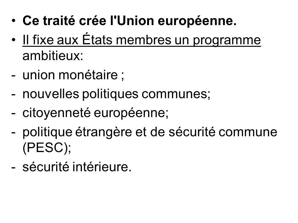 Ce traité crée l'Union européenne. Il fixe aux États membres un programme ambitieux: -union monétaire ; -nouvelles politiques communes; -citoyenneté e