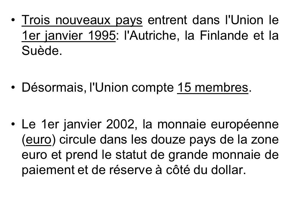 Trois nouveaux pays entrent dans l'Union le 1er janvier 1995: l'Autriche, la Finlande et la Suède. Désormais, l'Union compte 15 membres. Le 1er janvie