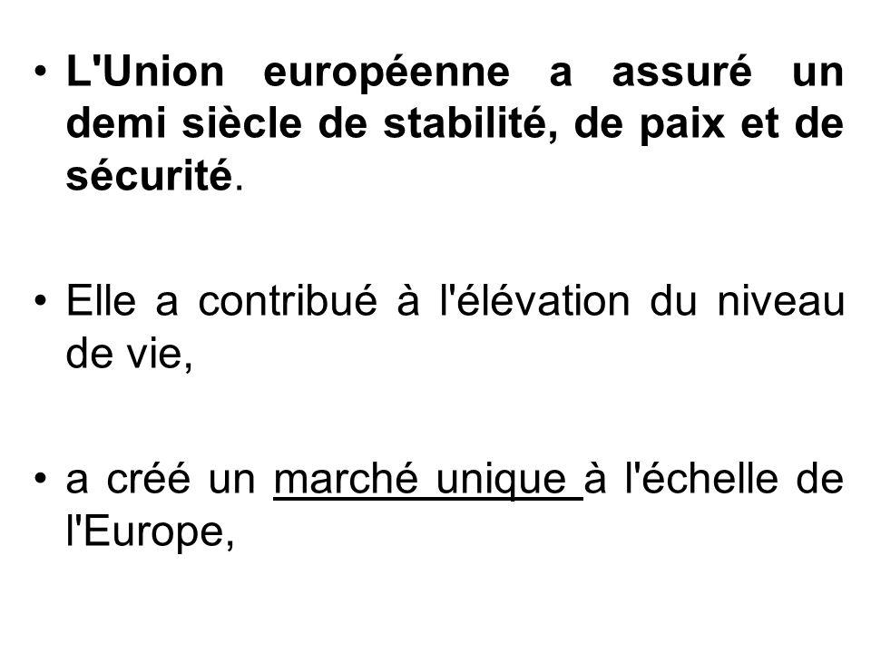 L'Union européenne a assuré un demi siècle de stabilité, de paix et de sécurité. Elle a contribué à l'élévation du niveau de vie, a créé un marché uni
