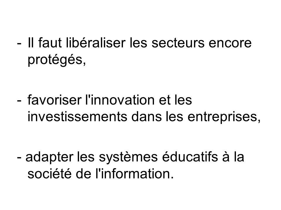 -Il faut libéraliser les secteurs encore protégés, -favoriser l'innovation et les investissements dans les entreprises, - adapter les systèmes éducati