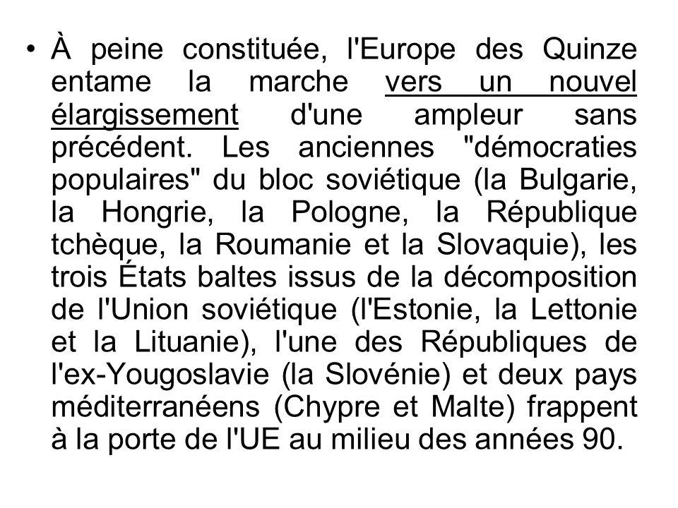 À peine constituée, l'Europe des Quinze entame la marche vers un nouvel élargissement d'une ampleur sans précédent. Les anciennes