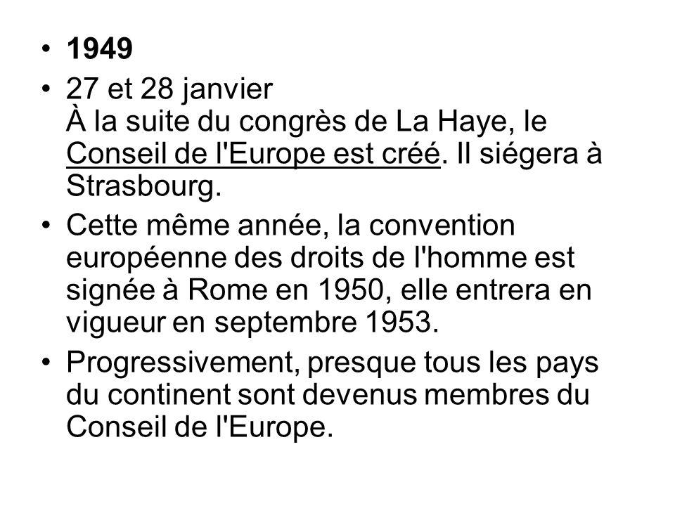 1949 27 et 28 janvier À la suite du congrès de La Haye, le Conseil de l'Europe est créé. Il siégera à Strasbourg. Cette même année, la convention euro