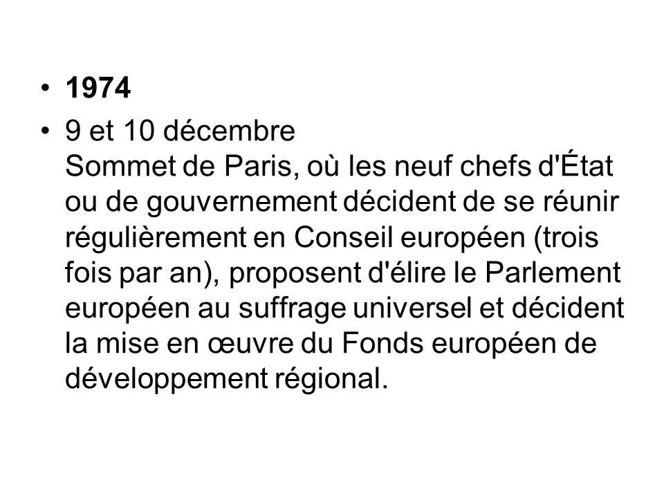 1974 9 et 10 décembre Sommet de Paris, où les neuf chefs d'État ou de gouvernement décident de se réunir régulièrement en Conseil européen (trois fois
