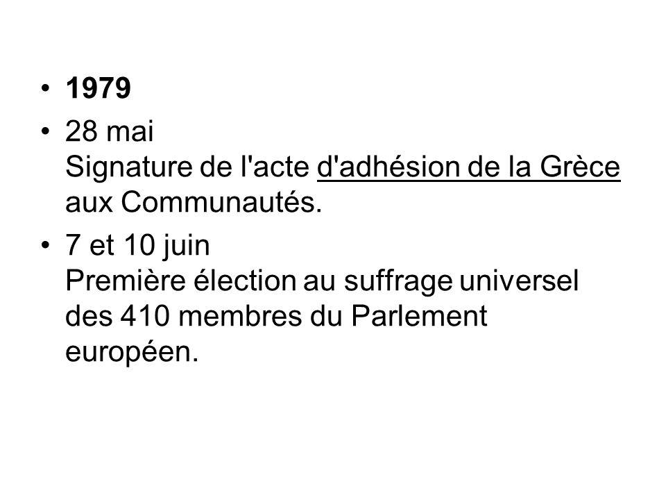 1979 28 mai Signature de l'acte d'adhésion de la Grèce aux Communautés. 7 et 10 juin Première élection au suffrage universel des 410 membres du Parlem