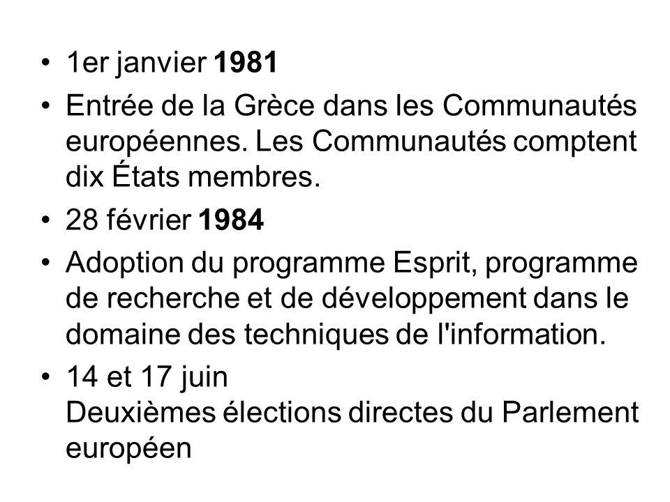 1er janvier 1981 Entrée de la Grèce dans les Communautés européennes. Les Communautés comptent dix États membres. 28 février 1984 Adoption du programm