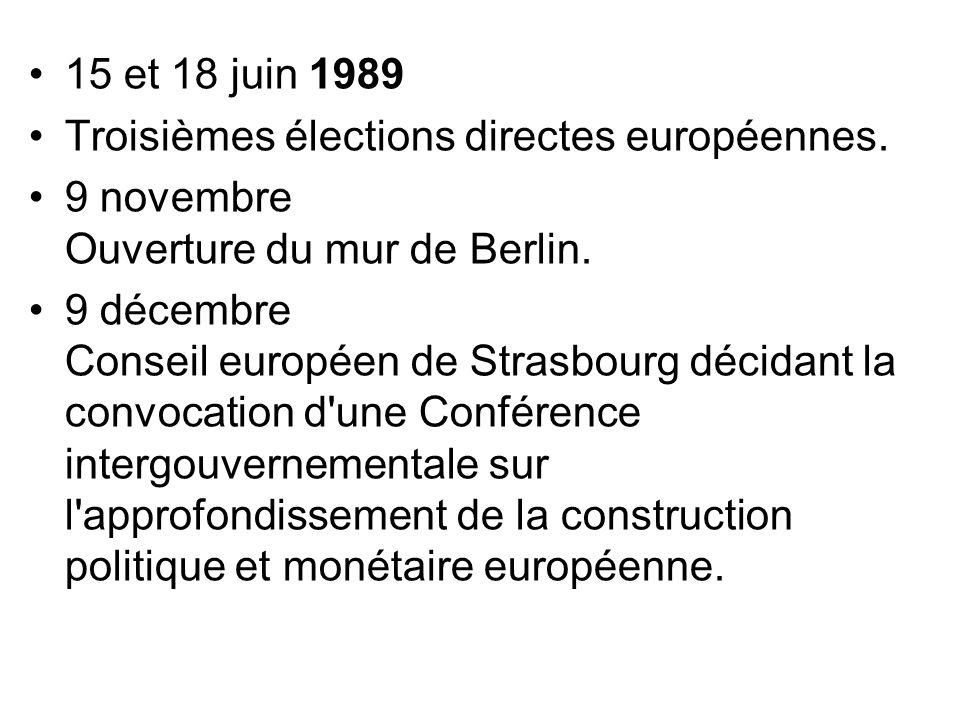 15 et 18 juin 1989 Troisièmes élections directes européennes. 9 novembre Ouverture du mur de Berlin. 9 décembre Conseil européen de Strasbourg décidan