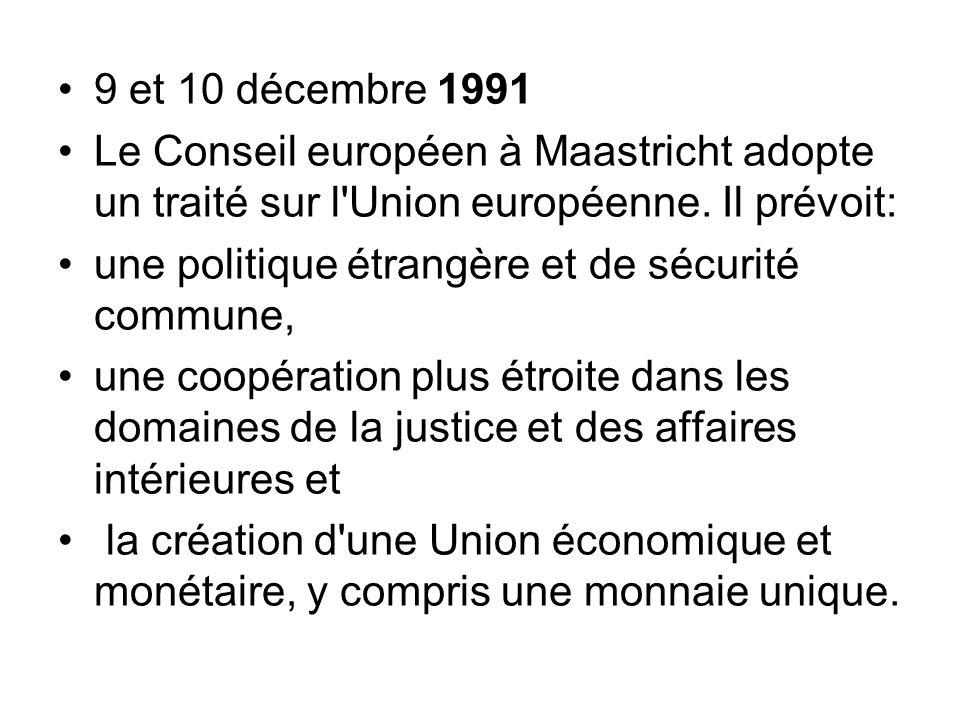 9 et 10 décembre 1991 Le Conseil européen à Maastricht adopte un traité sur l'Union européenne. Il prévoit: une politique étrangère et de sécurité com