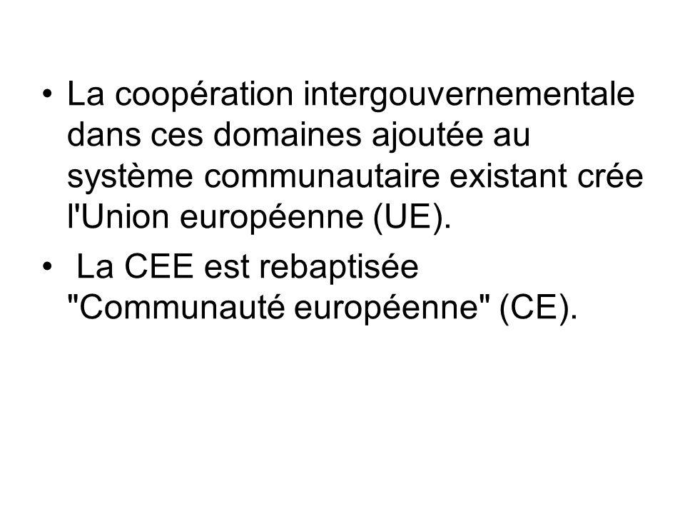 La coopération intergouvernementale dans ces domaines ajoutée au système communautaire existant crée l'Union européenne (UE). La CEE est rebaptisée