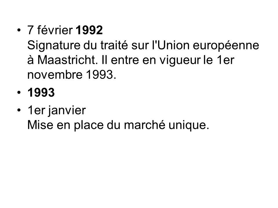 7 février 1992 Signature du traité sur l'Union européenne à Maastricht. Il entre en vigueur le 1er novembre 1993. 1993 1er janvier Mise en place du ma