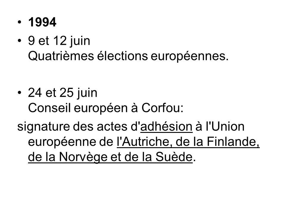 1994 9 et 12 juin Quatrièmes élections européennes. 24 et 25 juin Conseil européen à Corfou: signature des actes d'adhésion à l'Union européenne de l'