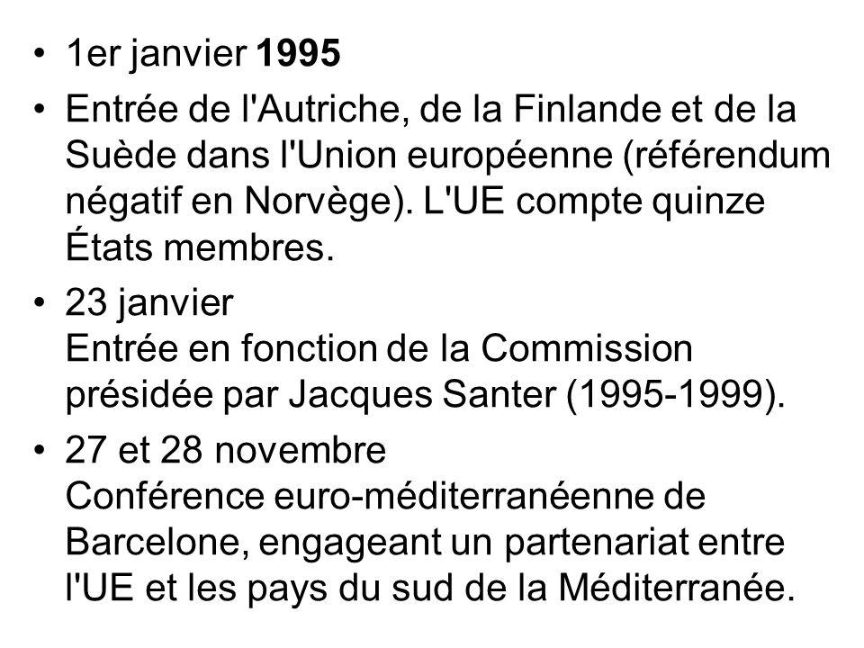 1er janvier 1995 Entrée de l'Autriche, de la Finlande et de la Suède dans l'Union européenne (référendum négatif en Norvège). L'UE compte quinze États