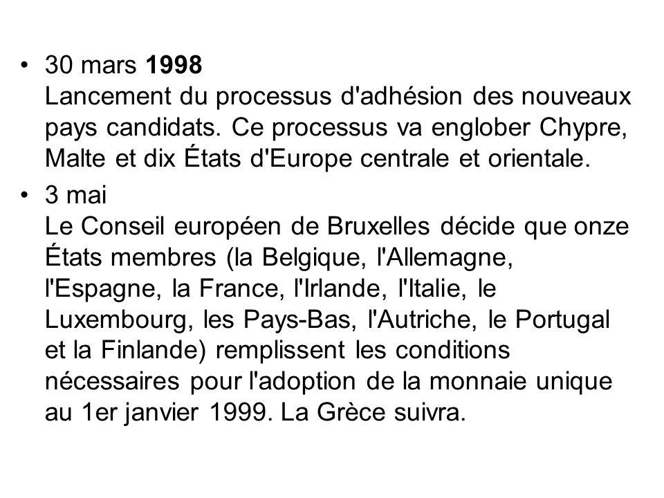 30 mars 1998 Lancement du processus d'adhésion des nouveaux pays candidats. Ce processus va englober Chypre, Malte et dix États d'Europe centrale et o