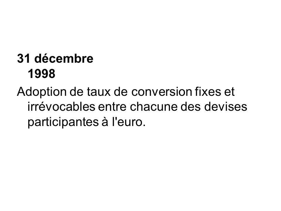 31 décembre 1998 Adoption de taux de conversion fixes et irrévocables entre chacune des devises participantes à l'euro.