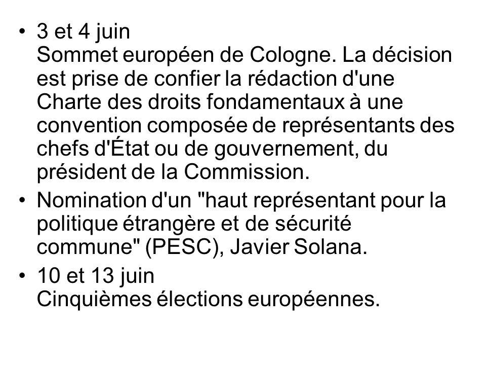 3 et 4 juin Sommet européen de Cologne. La décision est prise de confier la rédaction d'une Charte des droits fondamentaux à une convention composée d