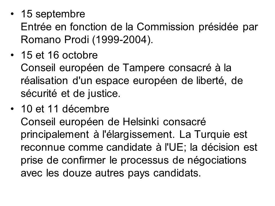 15 septembre Entrée en fonction de la Commission présidée par Romano Prodi (1999-2004). 15 et 16 octobre Conseil européen de Tampere consacré à la réa