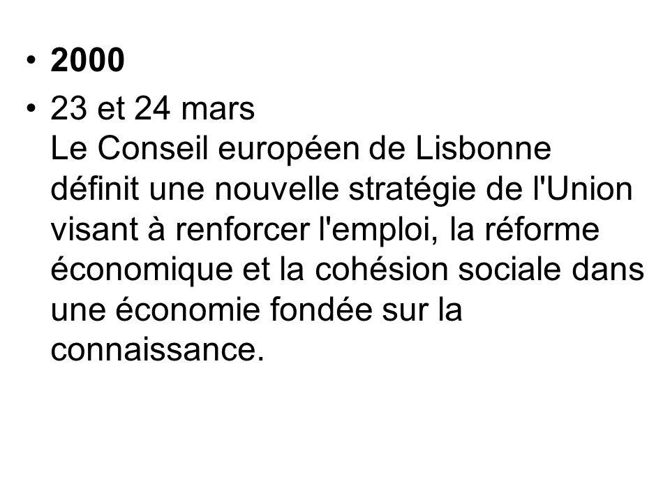 2000 23 et 24 mars Le Conseil européen de Lisbonne définit une nouvelle stratégie de l'Union visant à renforcer l'emploi, la réforme économique et la