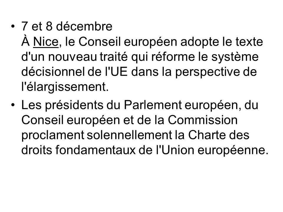 7 et 8 décembre À Nice, le Conseil européen adopte le texte d'un nouveau traité qui réforme le système décisionnel de l'UE dans la perspective de l'él
