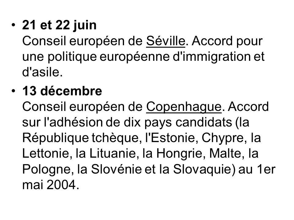 21 et 22 juin Conseil européen de Séville. Accord pour une politique européenne d'immigration et d'asile. 13 décembre Conseil européen de Copenhague.