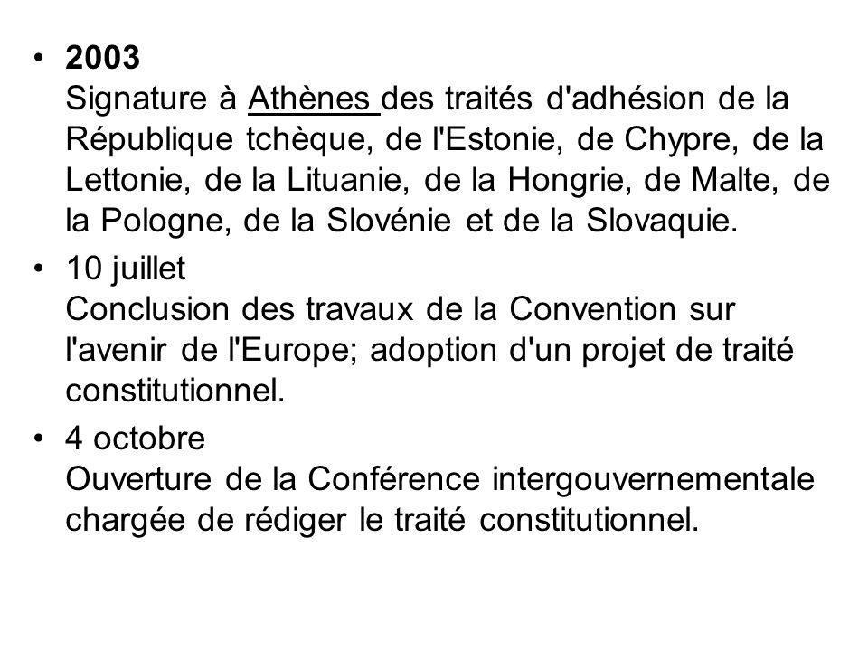 2003 Signature à Athènes des traités d'adhésion de la République tchèque, de l'Estonie, de Chypre, de la Lettonie, de la Lituanie, de la Hongrie, de M