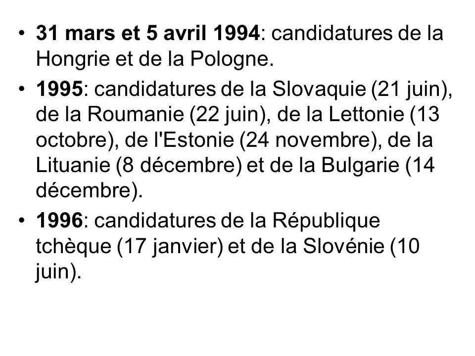 31 mars et 5 avril 1994: candidatures de la Hongrie et de la Pologne. 1995: candidatures de la Slovaquie (21 juin), de la Roumanie (22 juin), de la Le