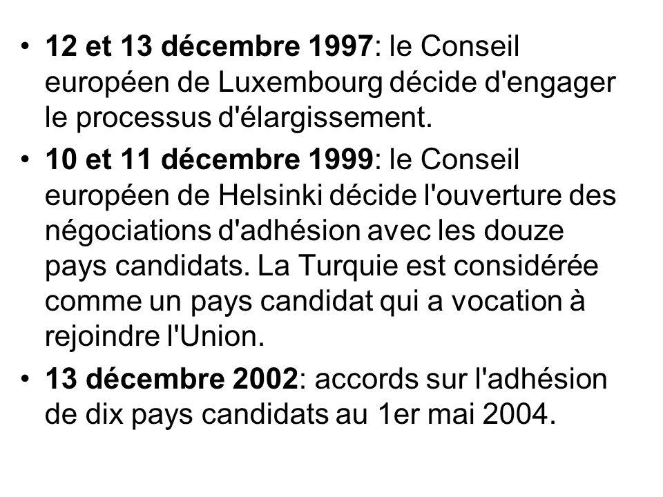 12 et 13 décembre 1997: le Conseil européen de Luxembourg décide d'engager le processus d'élargissement. 10 et 11 décembre 1999: le Conseil européen d