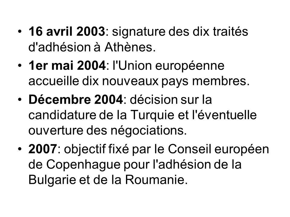 16 avril 2003: signature des dix traités d'adhésion à Athènes. 1er mai 2004: l'Union européenne accueille dix nouveaux pays membres. Décembre 2004: dé