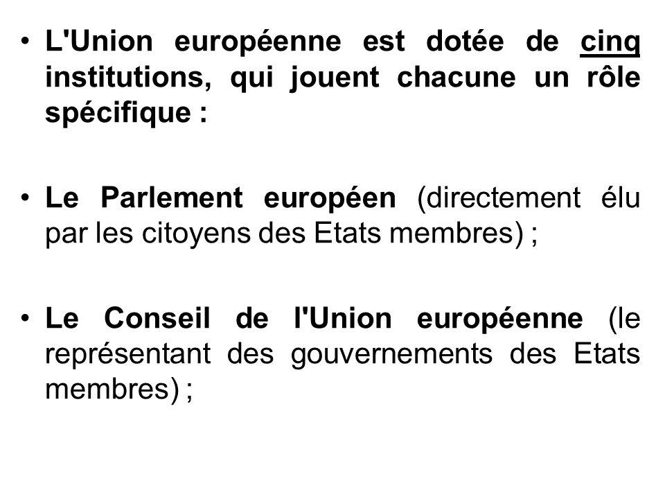 L'Union européenne est dotée de cinq institutions, qui jouent chacune un rôle spécifique : Le Parlement européen (directement élu par les citoyens des