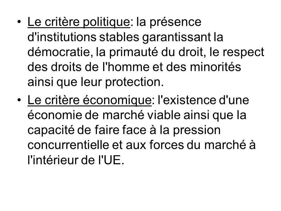 Le critère politique: la présence d'institutions stables garantissant la démocratie, la primauté du droit, le respect des droits de l'homme et des min